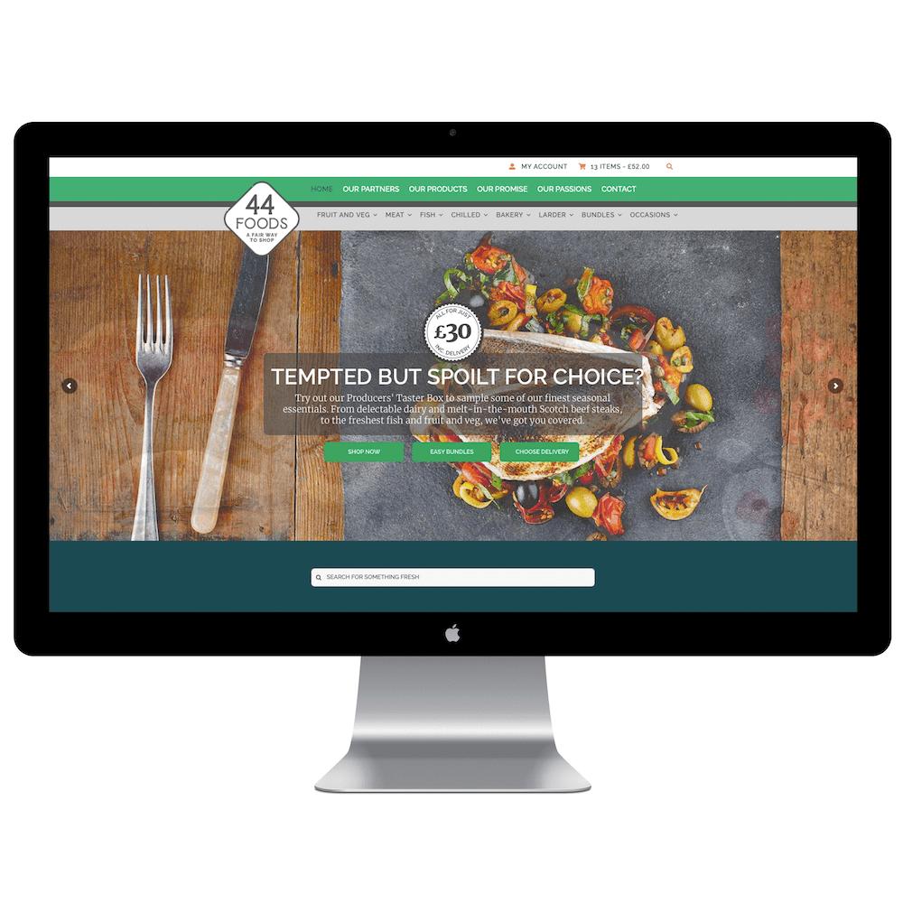 44 Digital Marketplace Case Study 44 Foods Homepage